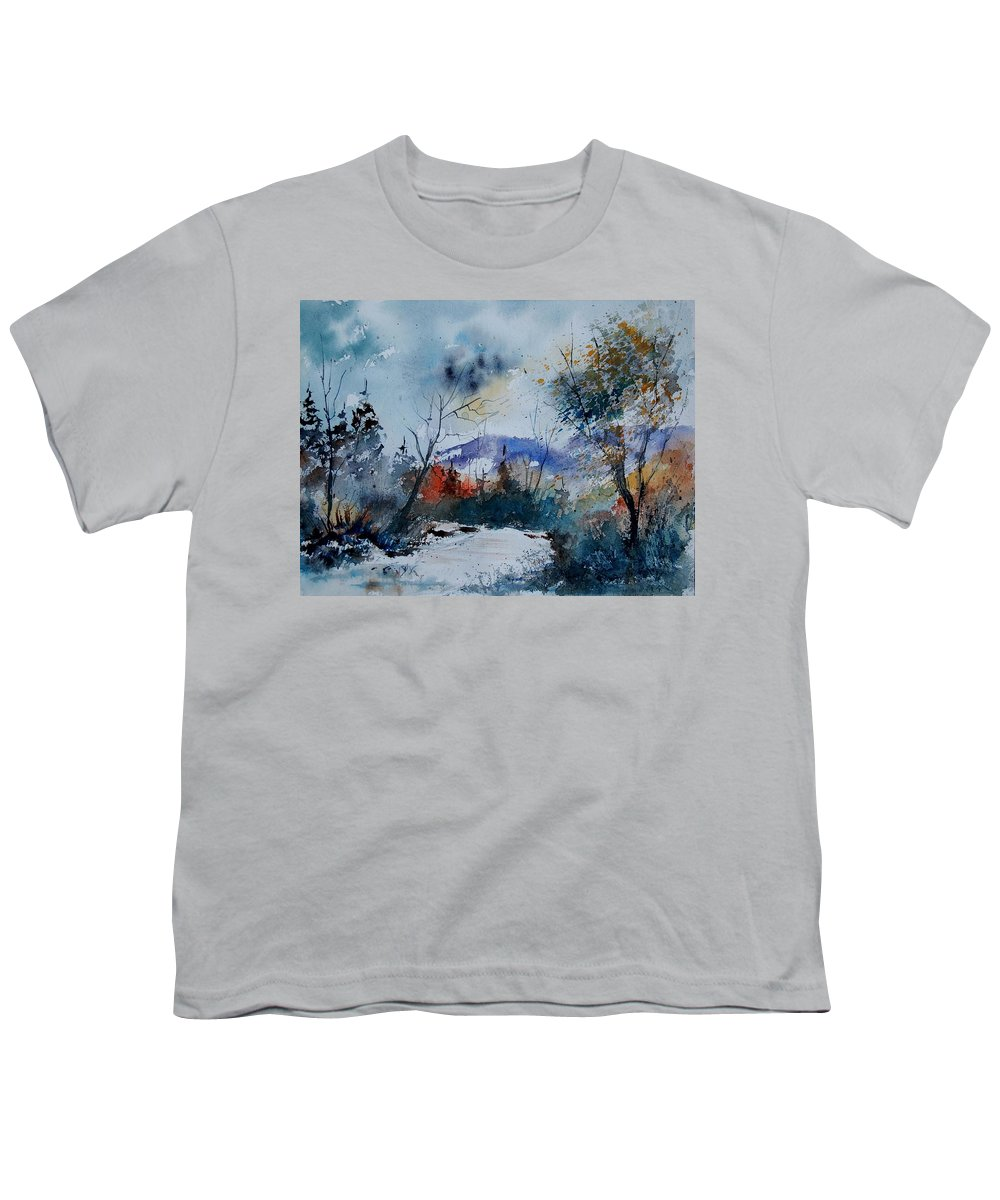 Landscape Youth T-Shirt featuring the painting Watercolor 802120 by Pol Ledent