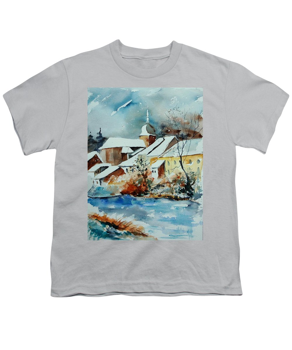 Landscape Youth T-Shirt featuring the painting Watercolor Chassepierre by Pol Ledent