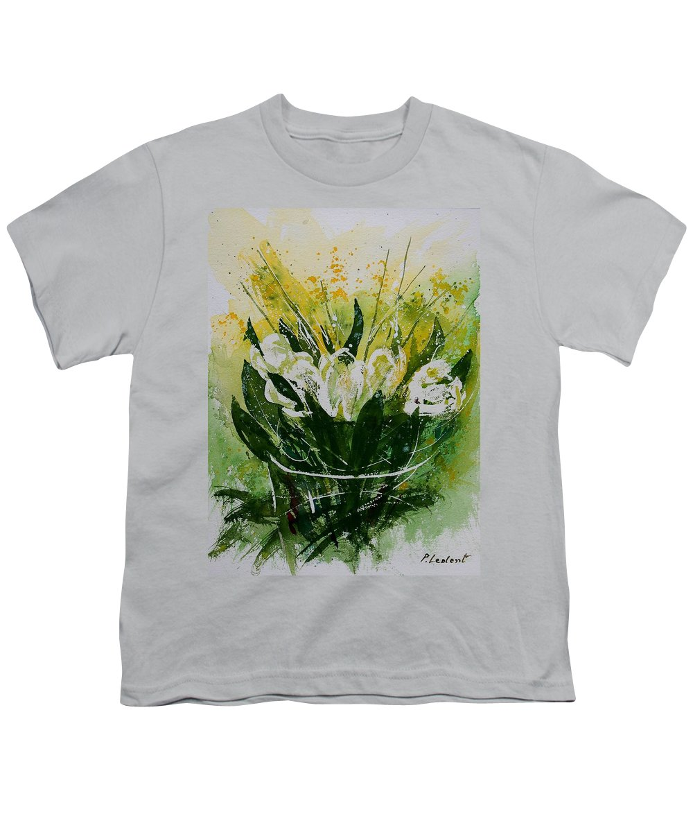 Flowers Youth T-Shirt featuring the painting Watercolor Tulips by Pol Ledent