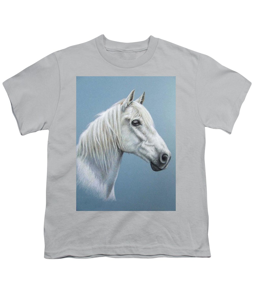 Horse Stallion White Pferd Portrait Animal Realism Pastel Youth T-Shirt featuring the pastel White Stallion by Nicole Zeug