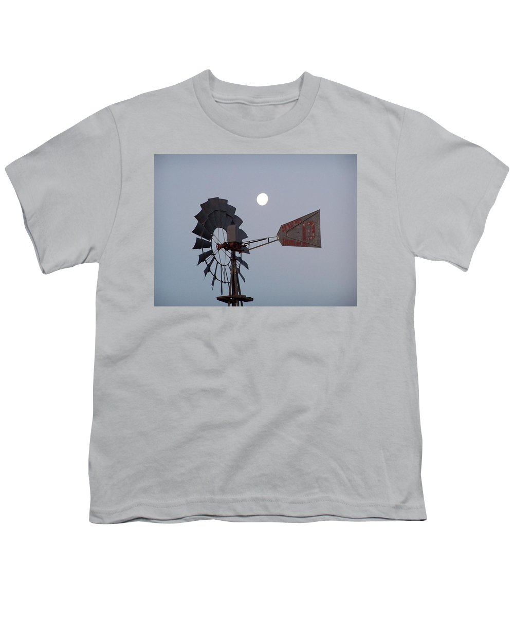 Windmill Youth T-Shirt featuring the photograph Windmill Moon by Gale Cochran-Smith