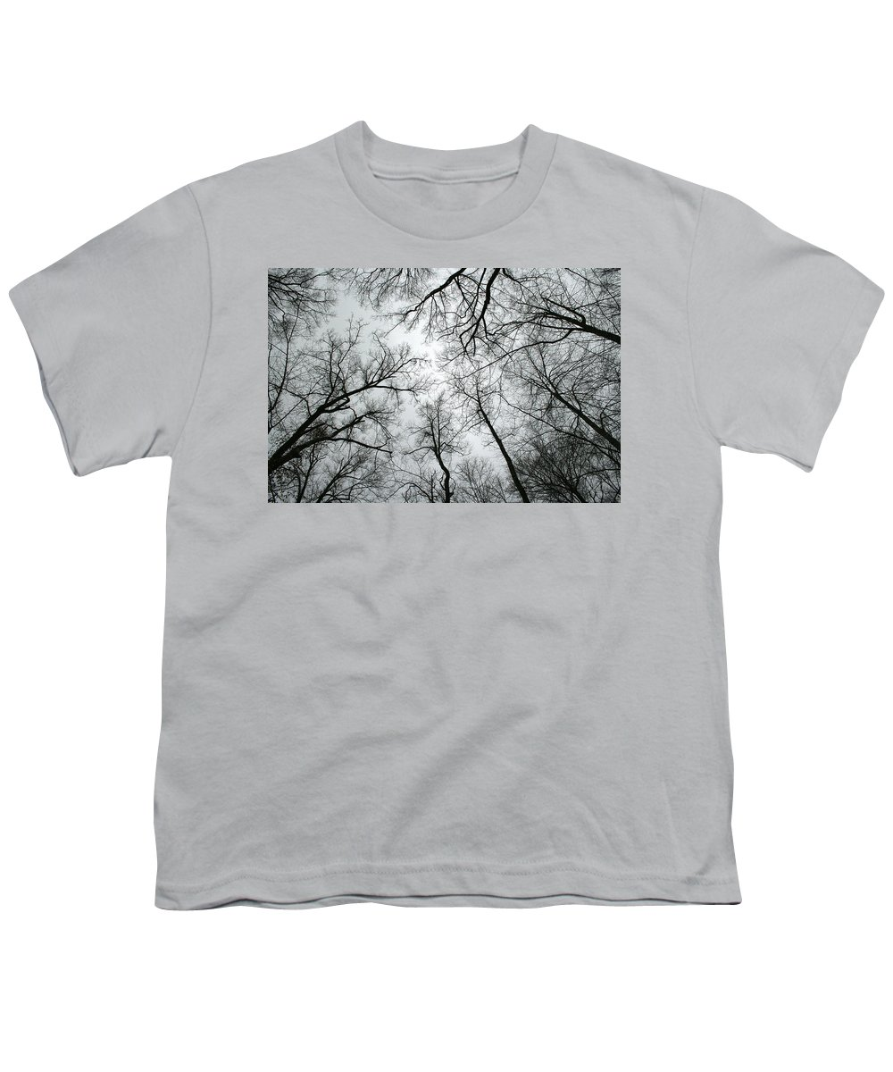 Winter Sky Tree Trees Grey Gloomy Peaceful Quite Calm Peace Cloudy Overcast Dark Youth T-Shirt featuring the photograph Winter Sky by Andrei Shliakhau