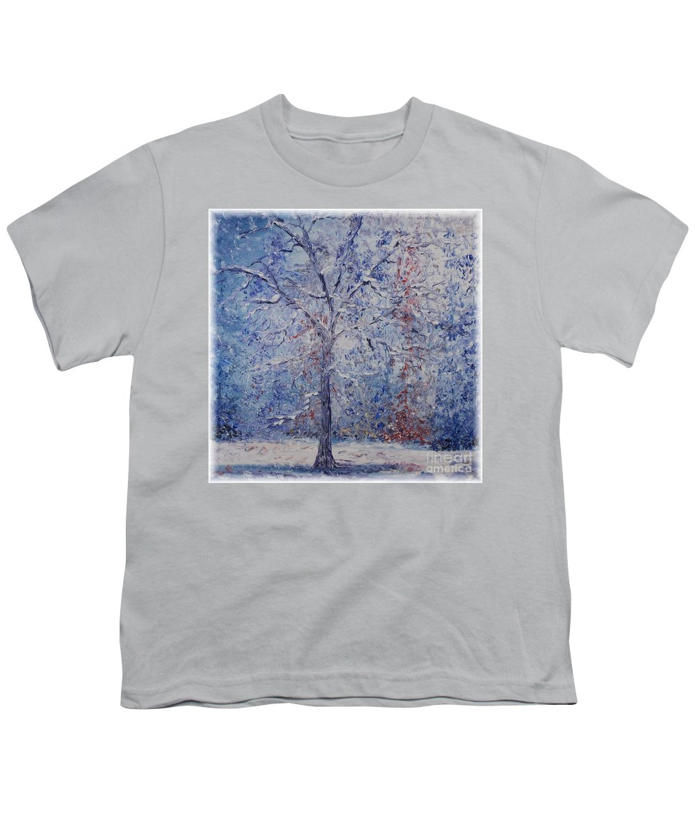 Winter Youth T-Shirt featuring the painting Winter Trees by Nadine Rippelmeyer