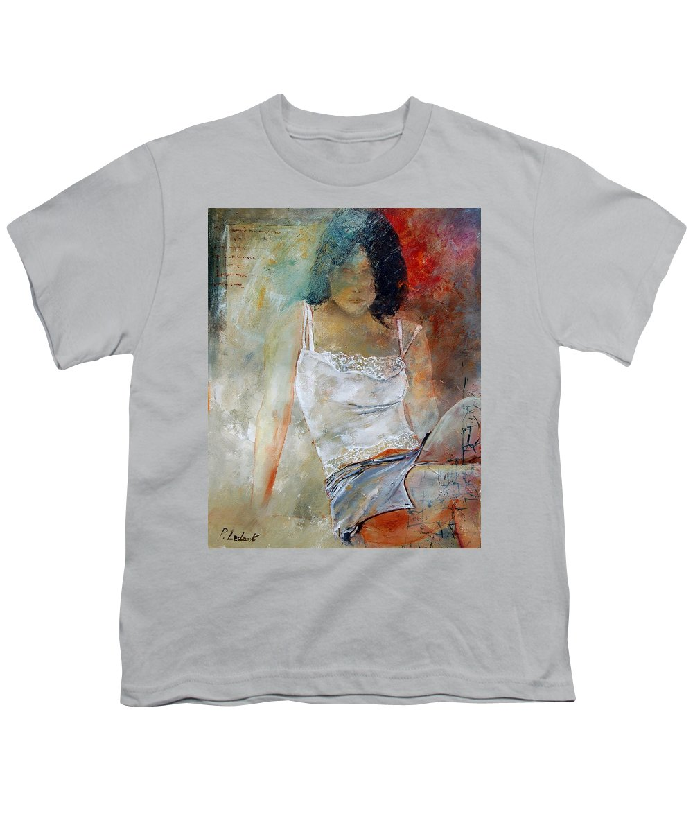 Nude Youth T-Shirt featuring the painting Young Girl Sitting by Pol Ledent