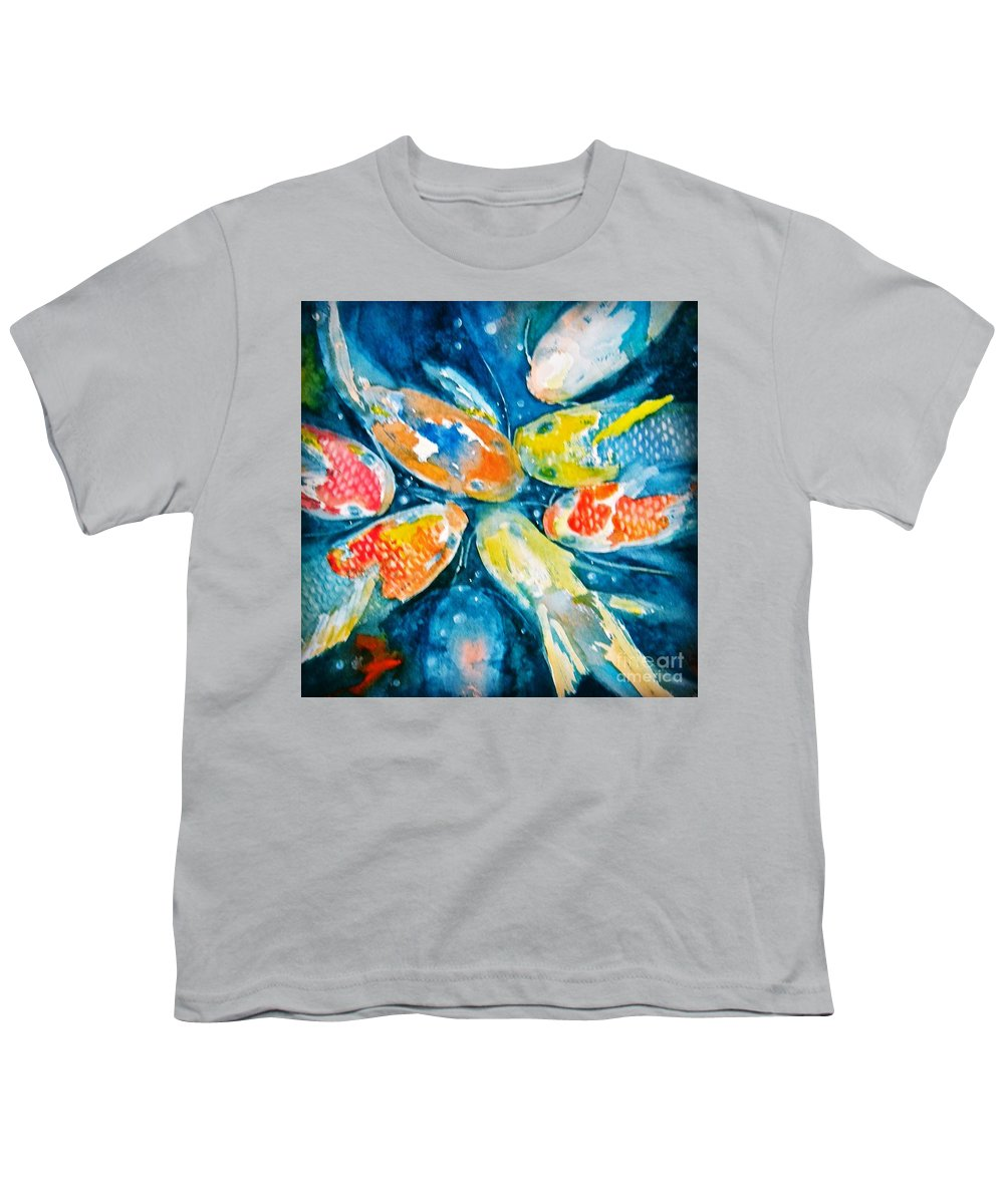 Koi Youth T-Shirt featuring the painting KOI by Midge Pippel