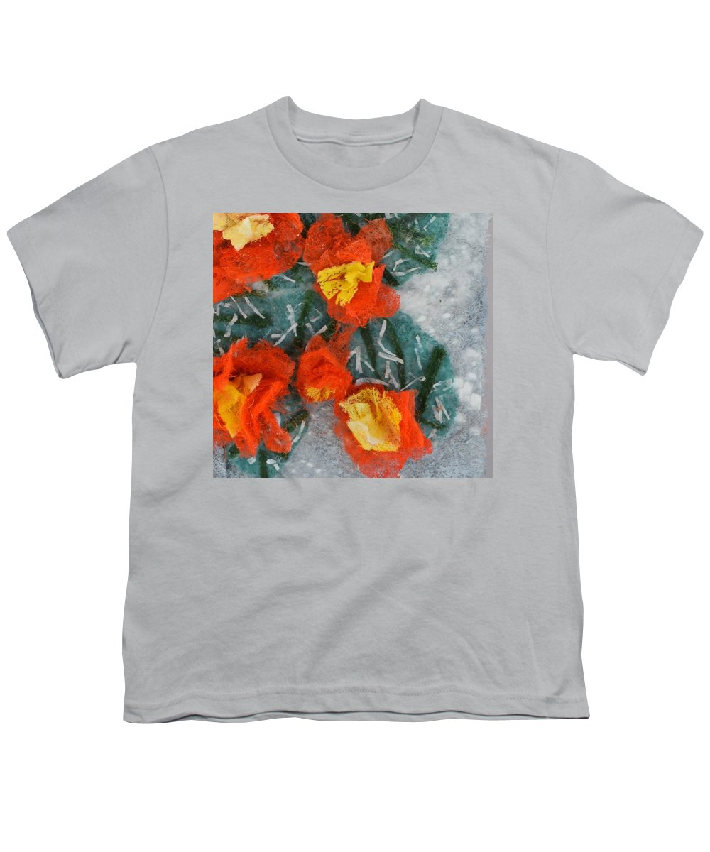 Dryer Sheets Youth T-Shirt featuring the mixed media Cactus Flowers by Charla Van Vlack