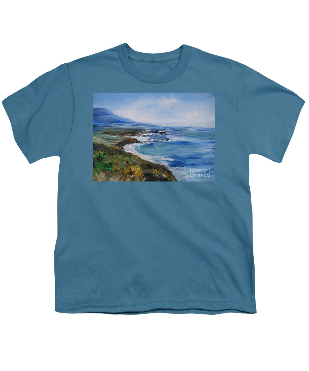 California Coast Youth T-Shirt featuring the painting Big Sur Coastline by Eric Schiabor
