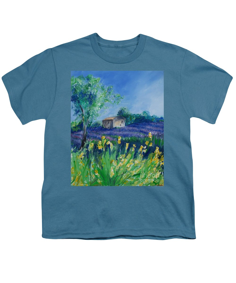 Provence Youth T-Shirt featuring the painting Provence Lavender Field by Eric Schiabor