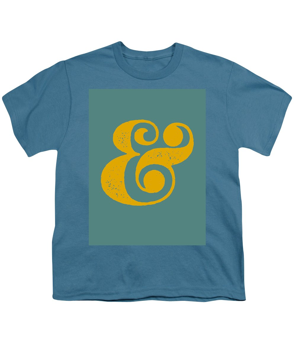 Ampersand Youth T-Shirt featuring the digital art Ampersand Poster Blue and Yellow by Naxart Studio