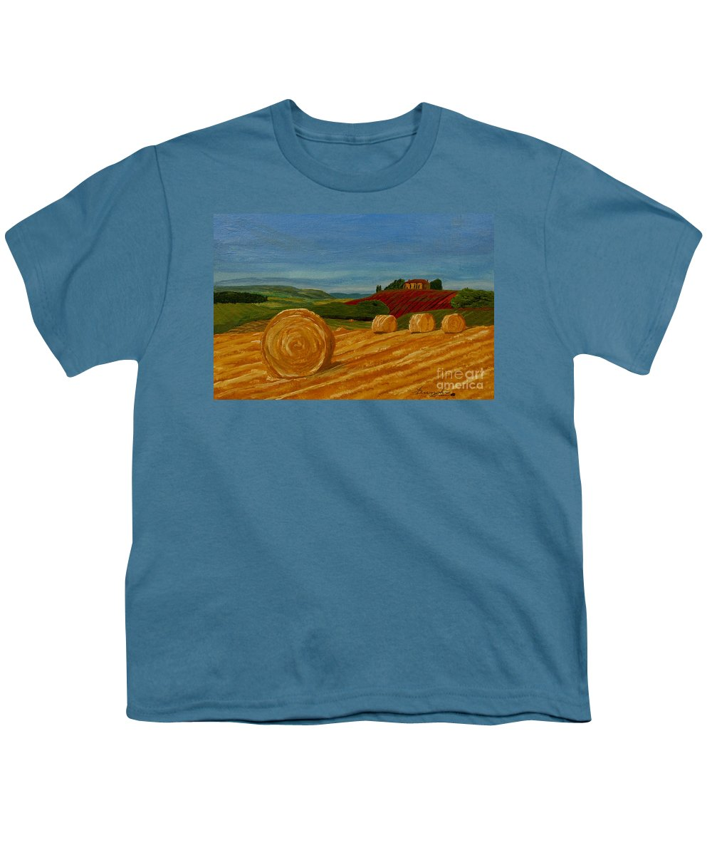 Hay Youth T-Shirt featuring the painting Field Of Golden Hay by Anthony Dunphy