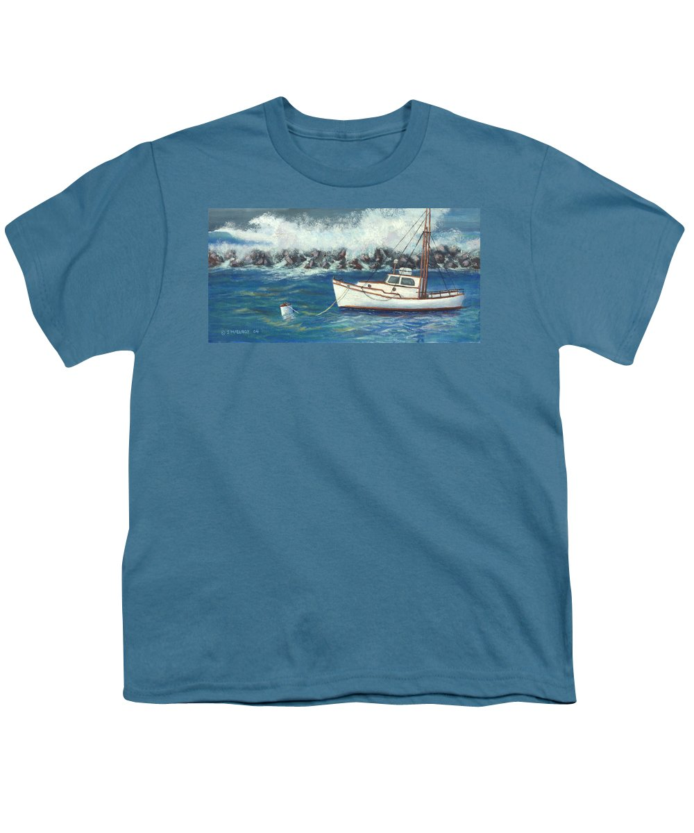 Ocean Youth T-Shirt featuring the painting Behind The Breakwall by Jerry McElroy