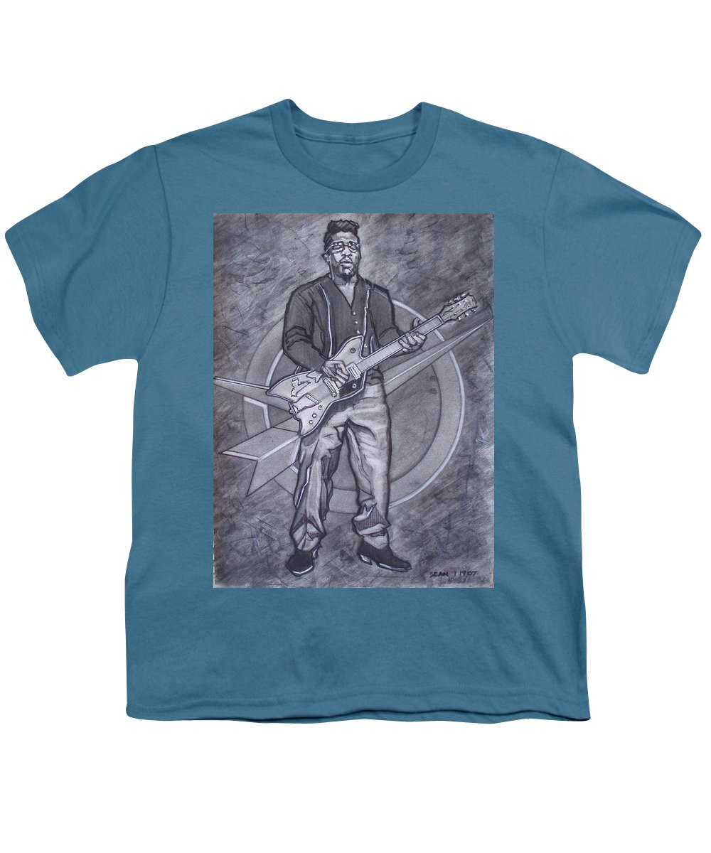 Texas;charcoal;king Of Rock;rock And Roll;music;1950s;blues;musician;funk;electric Guitar;marble;soul Youth T-Shirt featuring the drawing Bo Diddley - Have Guitar Will Travel by Sean Connolly