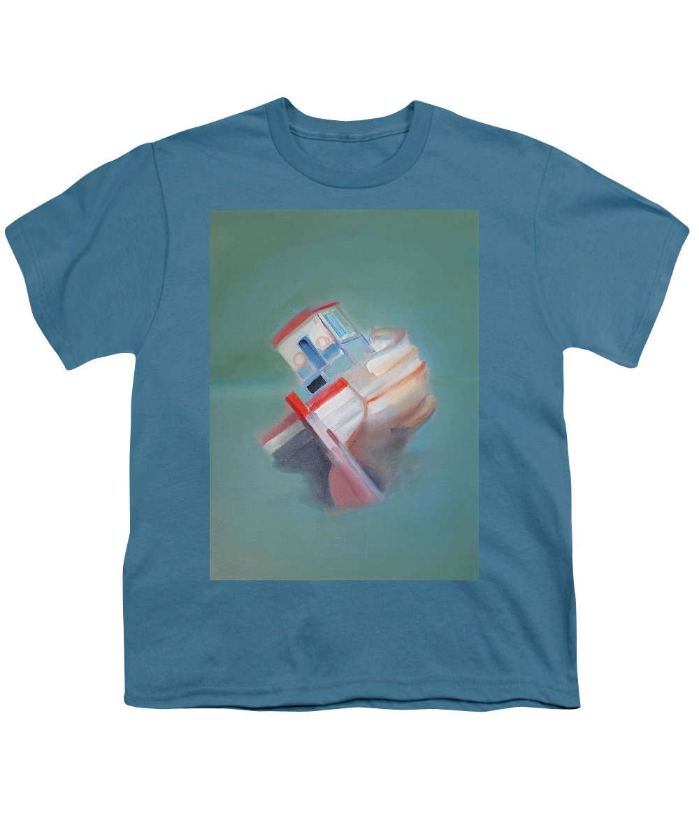 Fishing Boat Youth T-Shirt featuring the painting Boat Retired Tavira by Charles Stuart