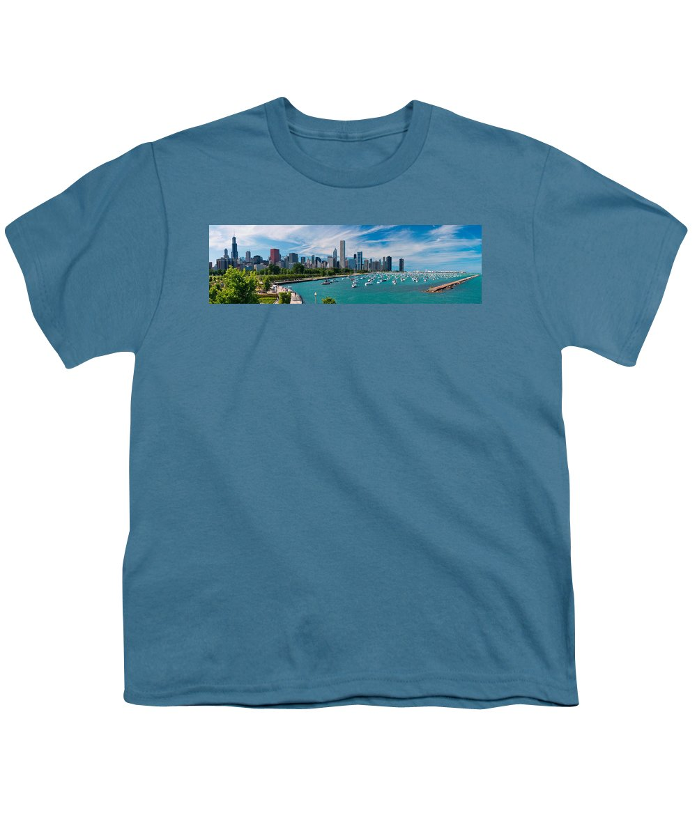 3scape Youth T-Shirt featuring the photograph Chicago Skyline Daytime Panoramic by Adam Romanowicz