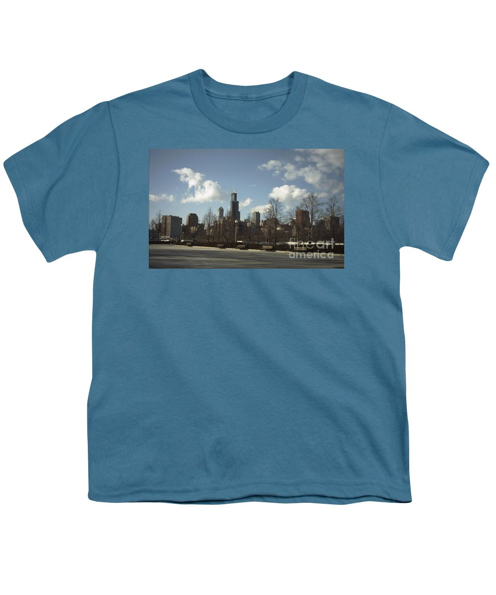 Chicago Skyline Youth T-Shirt featuring the photograph Chicago Skyline Postcard by Minding My Visions by Adri and Ray