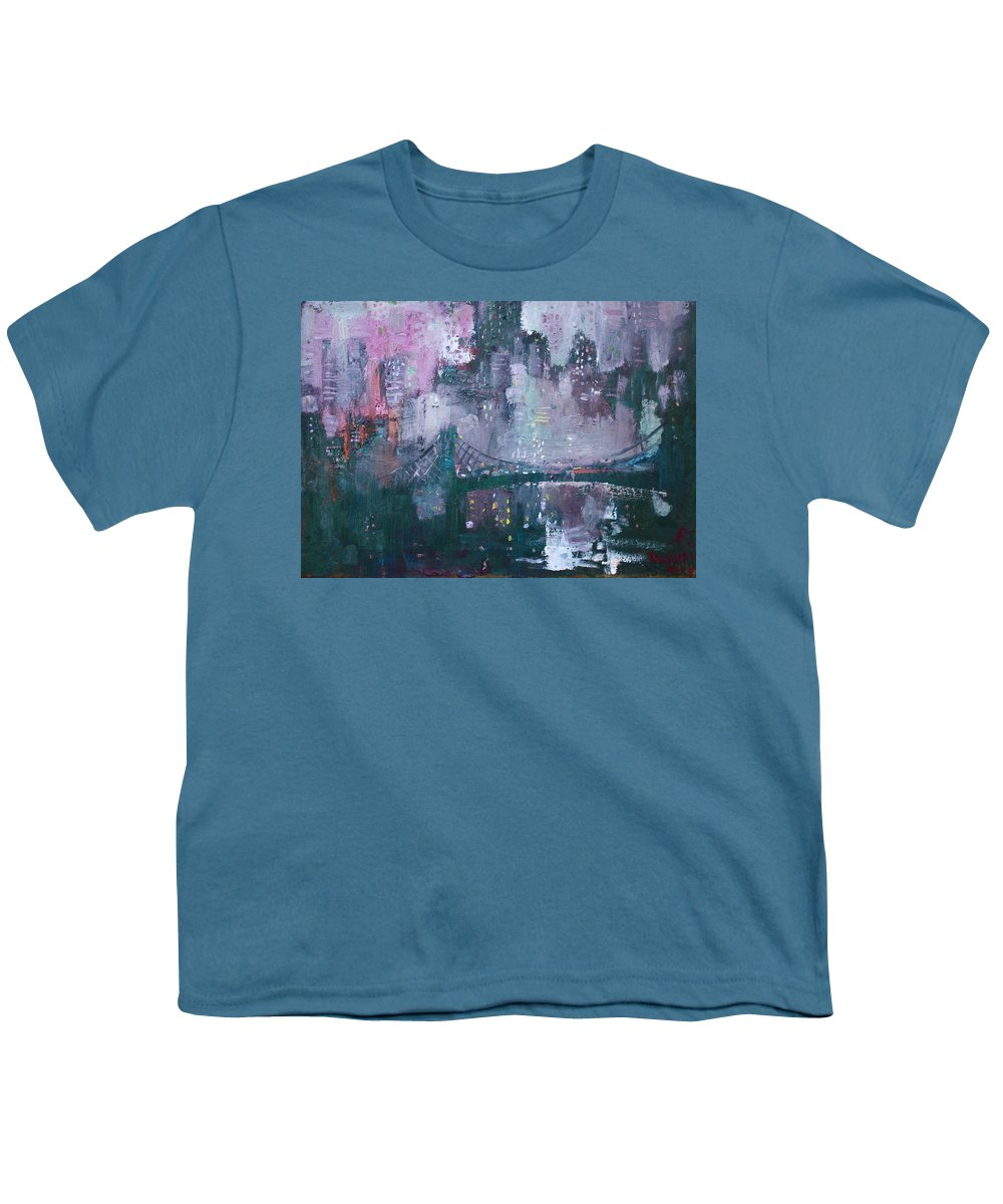 Brooklyn Bridge Youth T-Shirt featuring the painting City That Never Sleeps by Ylli Haruni
