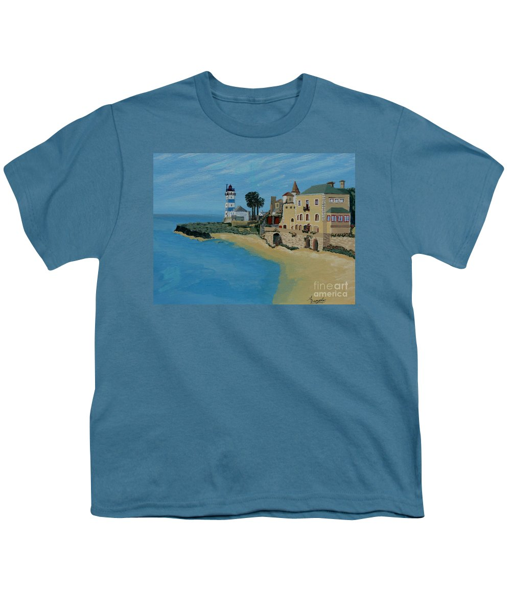 Lighthouse Youth T-Shirt featuring the painting European Lighthouse by Anthony Dunphy