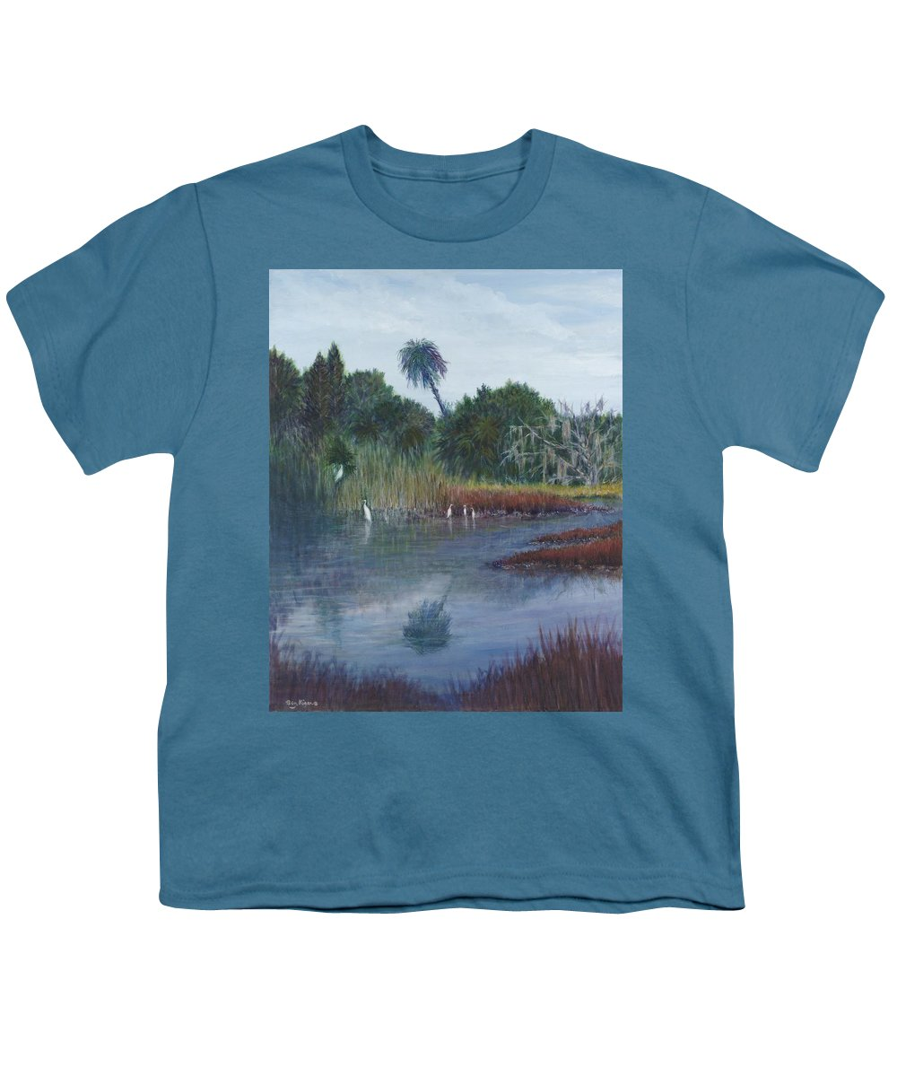 Landscape Youth T-Shirt featuring the painting Low Country Social by Ben Kiger