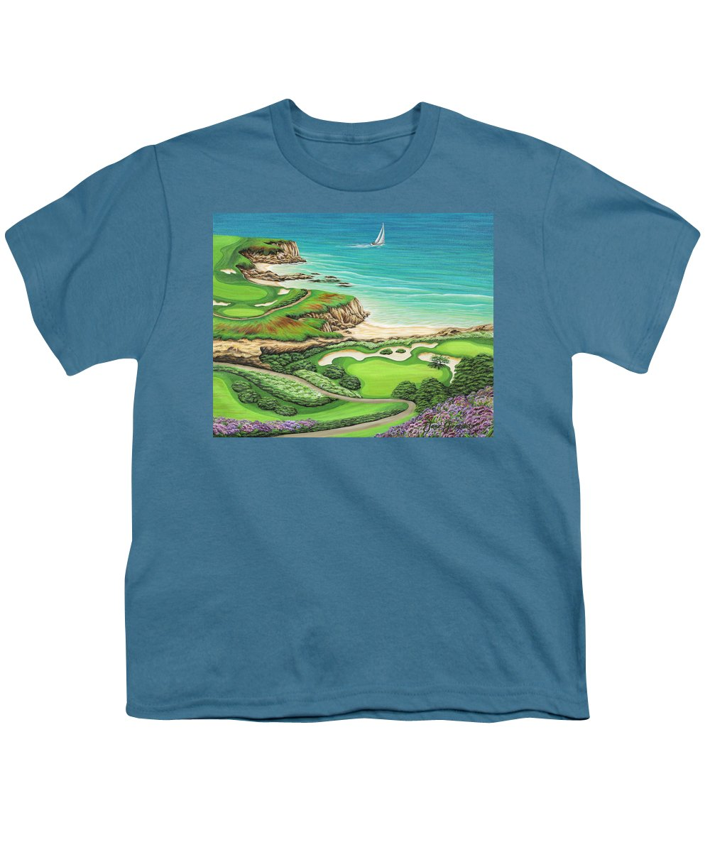 Ocean Youth T-Shirt featuring the painting Newport Coast by Jane Girardot
