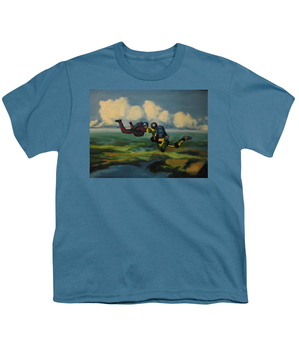 Skydivers Youth T-Shirt featuring the painting Relative Work by John Malone