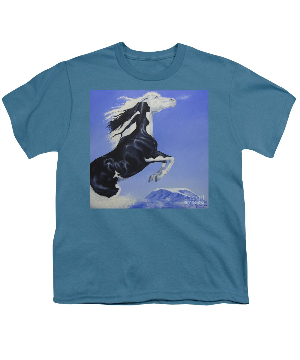 Paint Youth T-Shirt featuring the painting The Goddess Within by Louise Green