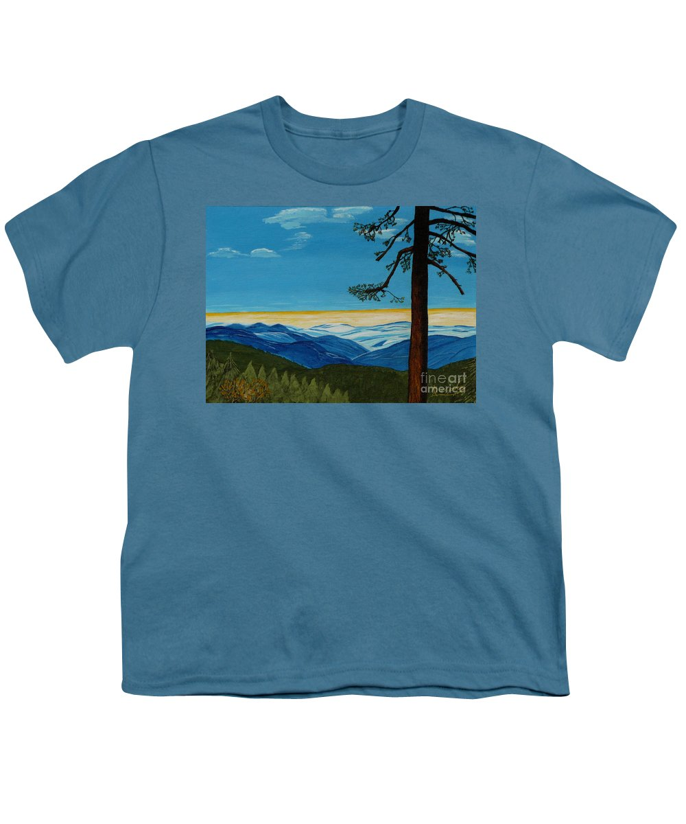 Mountain Youth T-Shirt featuring the painting Tranquil Solitude by Anthony Dunphy