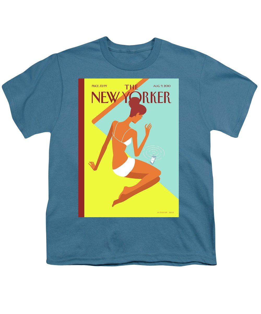Pool Youth T-Shirt featuring the painting New Yorker August 9th, 2010 by Christoph Niemann