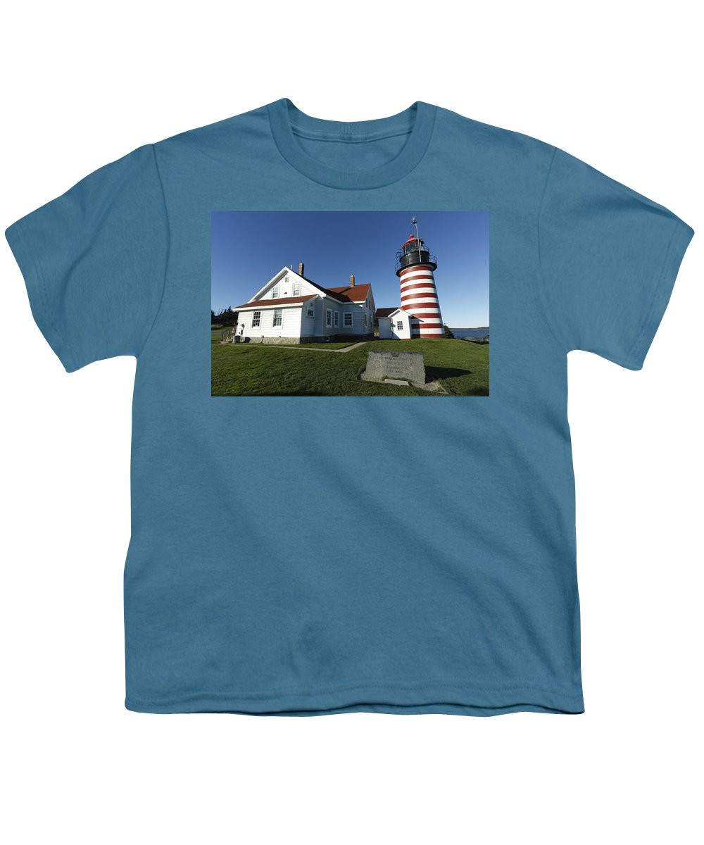 Feb0514 Youth T-Shirt featuring the photograph West Quoddy Lighthouse Lubec Maine by Scott Leslie