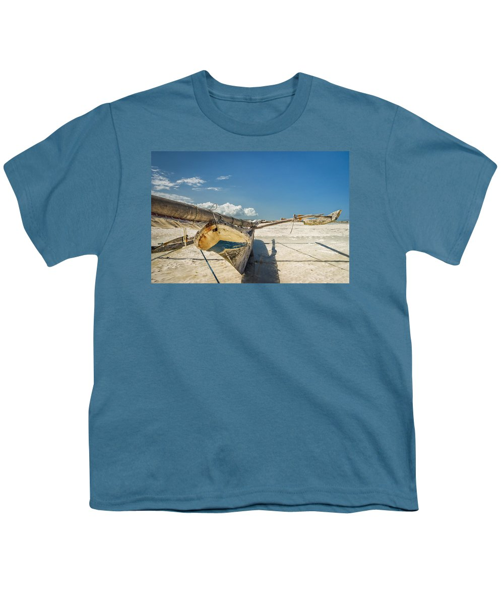 3scape Youth T-Shirt featuring the photograph Zanzibar Outrigger by Adam Romanowicz