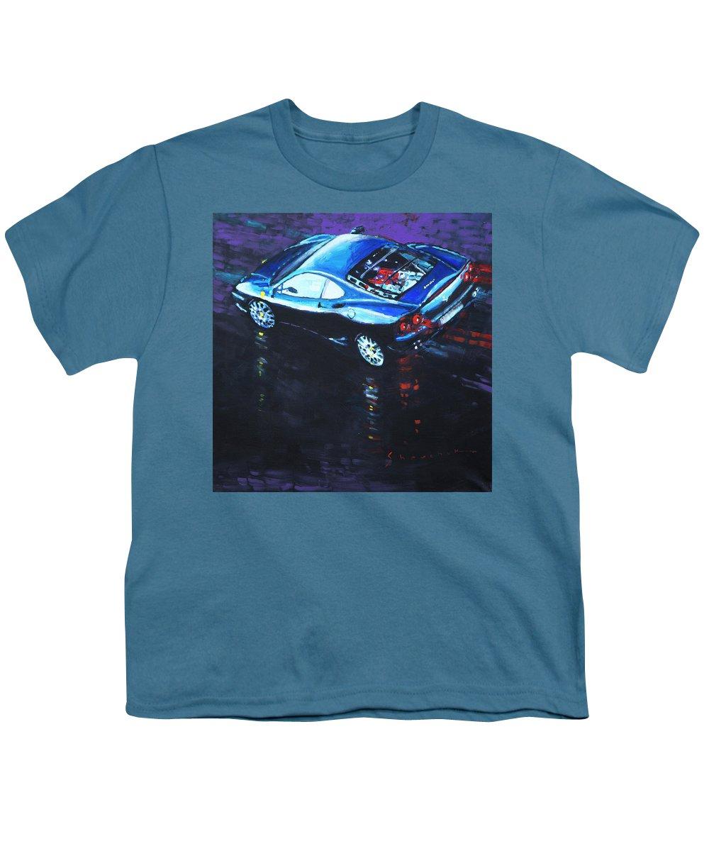 Shevchukart Youth T-Shirt featuring the painting 2003 Ferrari 360 Challenge by Yuriy Shevchuk