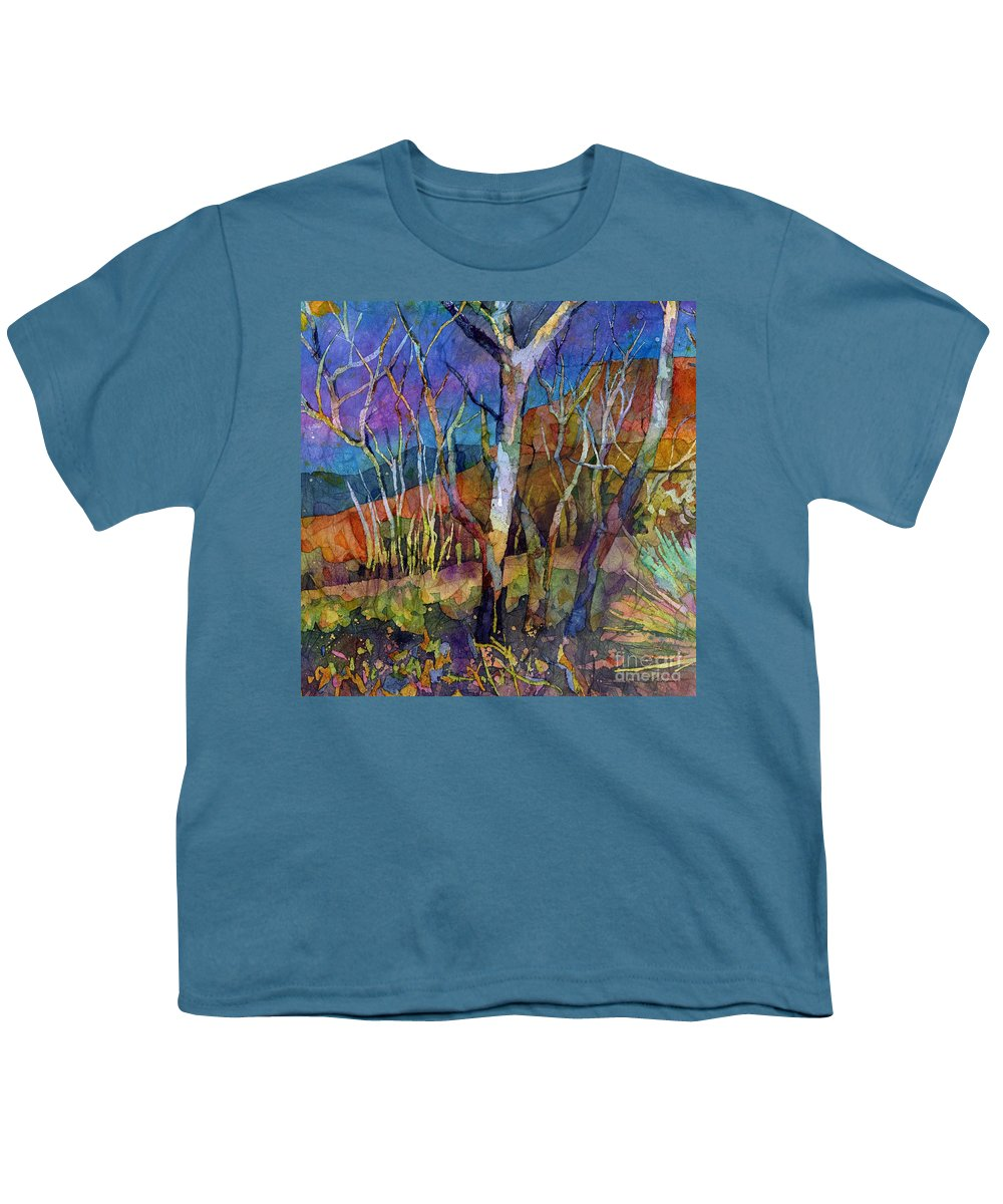Trees Youth T-Shirt featuring the painting Beyond The Woods by Hailey E Herrera