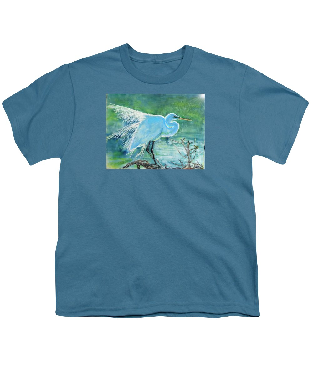 Egret Youth T-Shirt featuring the painting Egret In The Summer Breeze by Dawn Johansen