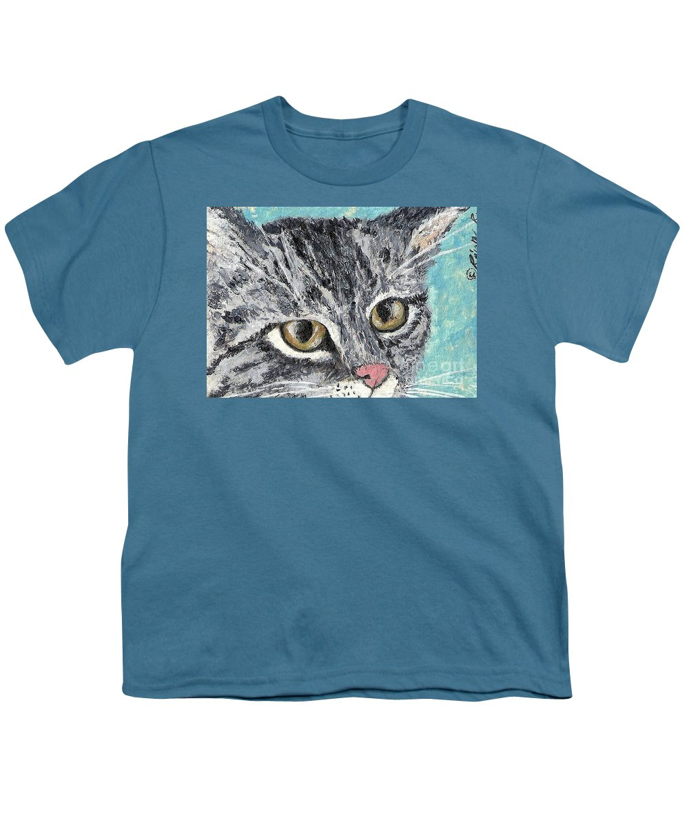 Cats Youth T-Shirt featuring the painting Tiger Cat by Reina Resto