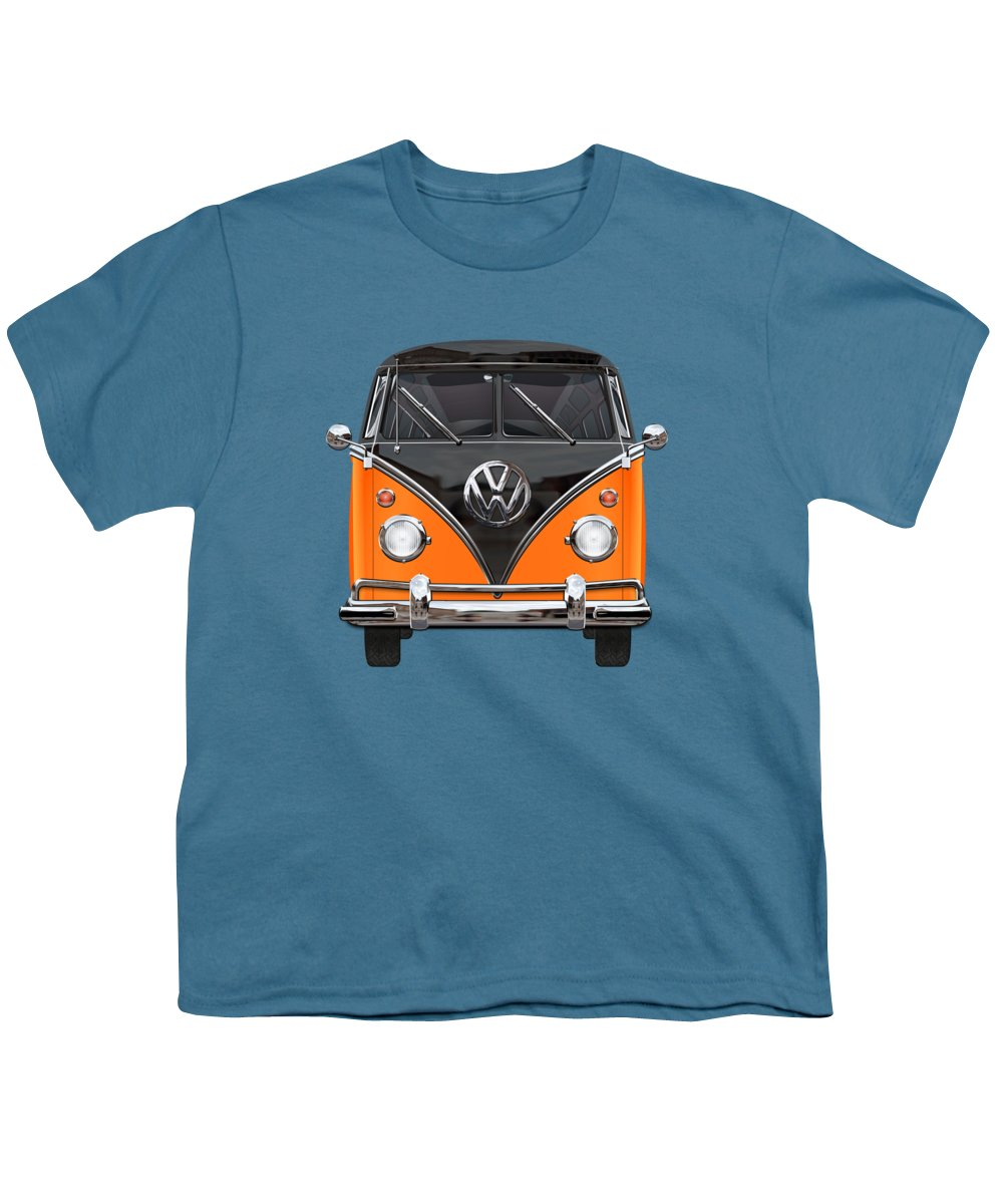 'volkswagen Type 2' Collection By Serge Averbukh Youth T-Shirt featuring the photograph Volkswagen Type 2 - Black And Orange Volkswagen T 1 Samba Bus Over Blue by Serge Averbukh