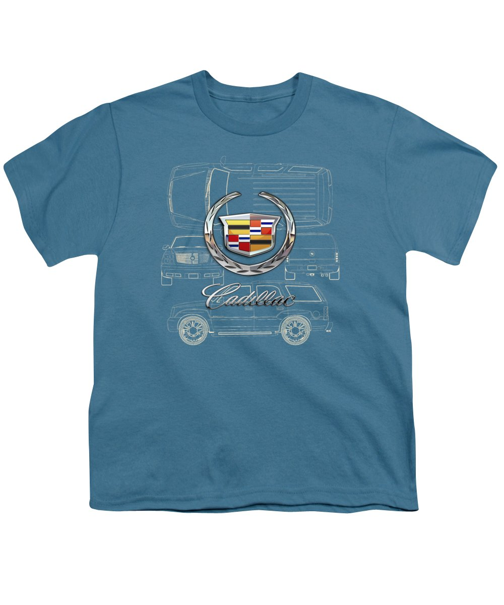 'wheels Of Fortune' By Serge Averbukh Youth T-Shirt featuring the photograph Cadillac 3 D Badge over Cadillac Escalade Blueprint by Serge Averbukh