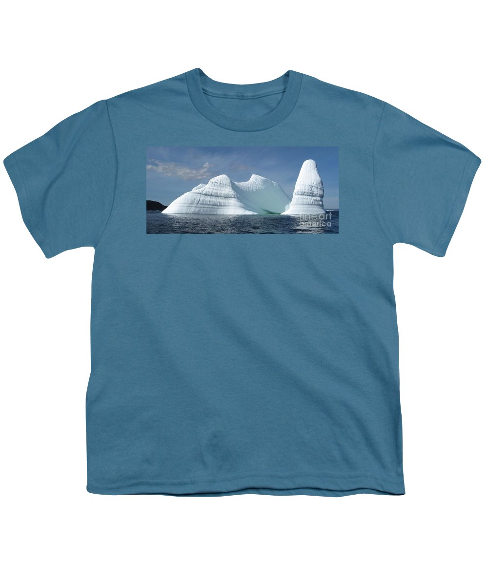 Iceberg Photograph Ice Water Ocean Sea Atlantic Summer Newfoundland Youth T-Shirt featuring the photograph Iceberg by Seon-Jeong Kim