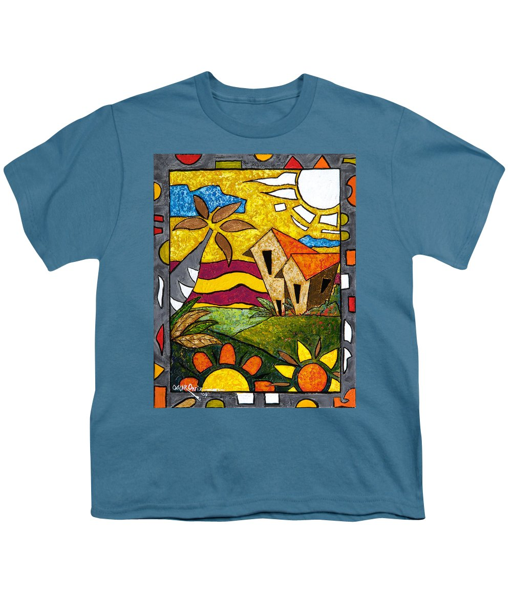 Puerto Rico Youth T-Shirt featuring the painting A Beautiful Day by Oscar Ortiz