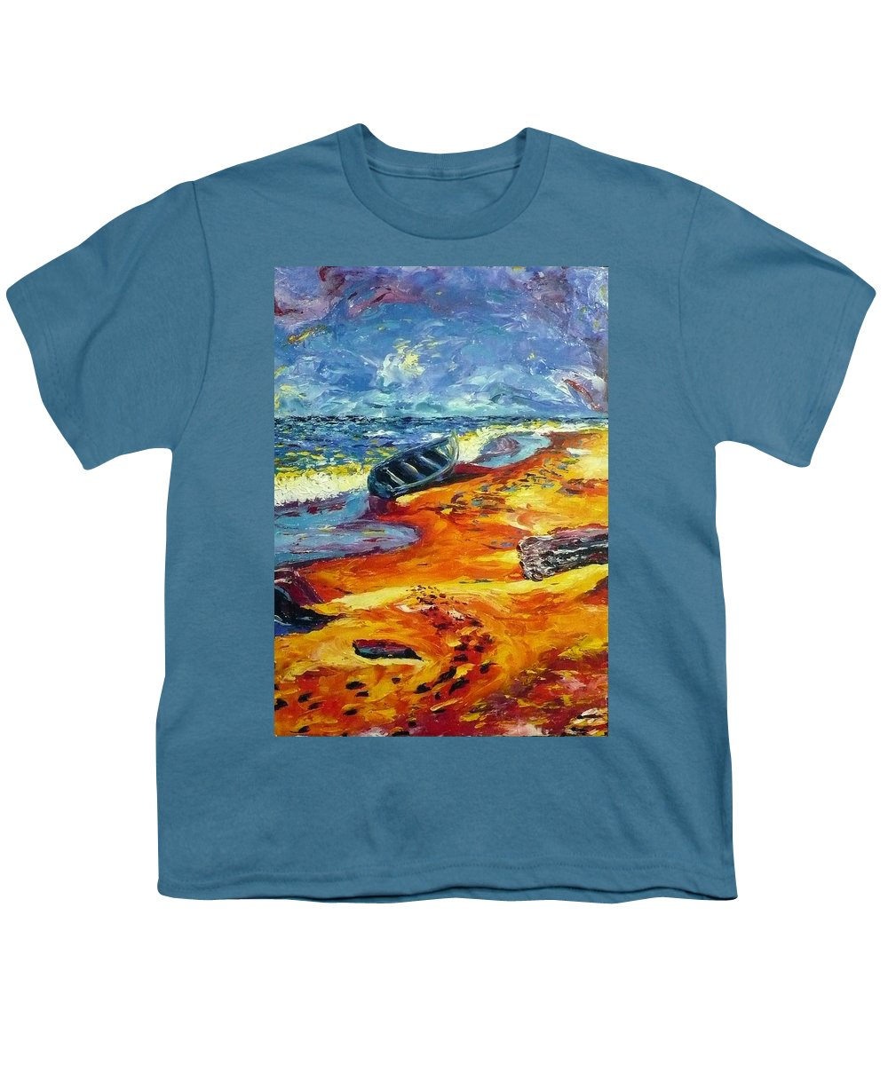 Landscape Youth T-Shirt featuring the painting A Canoe At The Beach by Ericka Herazo