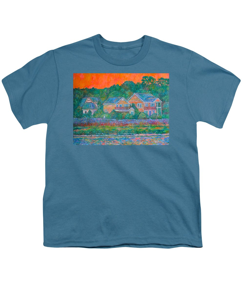 Landscape Youth T-Shirt featuring the painting Across The Marsh At Pawleys Island    by Kendall Kessler