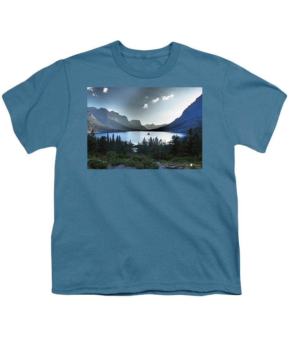St. Mary Lake Youth T-Shirt featuring the photograph Alpine Dusk by Stephanie McGuire