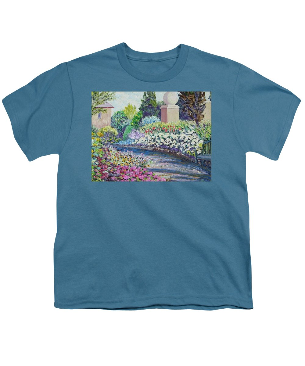 Flowers Youth T-Shirt featuring the painting Amelia Park Pathway by Richard Nowak