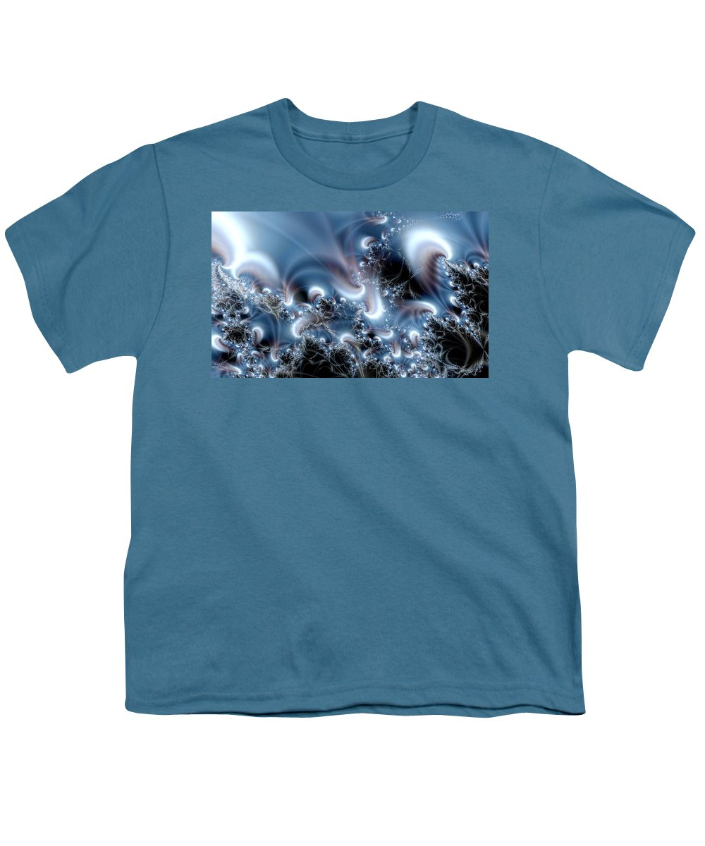 Water Bubbles Blue Nature Flow Youth T-Shirt featuring the digital art Aquafractal by Veronica Jackson