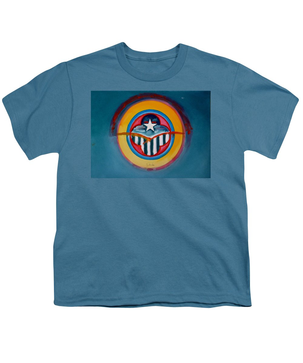 Button Youth T-Shirt featuring the painting Army by Charles Stuart
