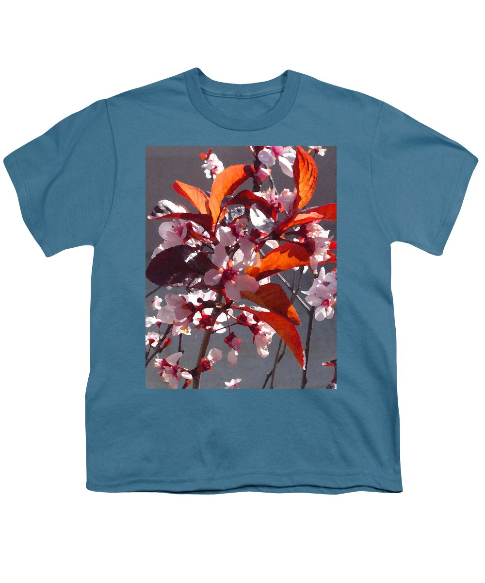 Floral Youth T-Shirt featuring the painting Backlit Pink Tree Blossoms by Amy Vangsgard