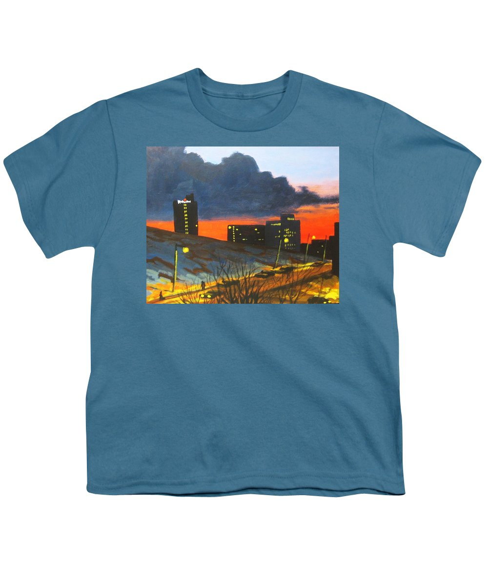 Sunset Youth T-Shirt featuring the painting Balcony View 2 by John Malone