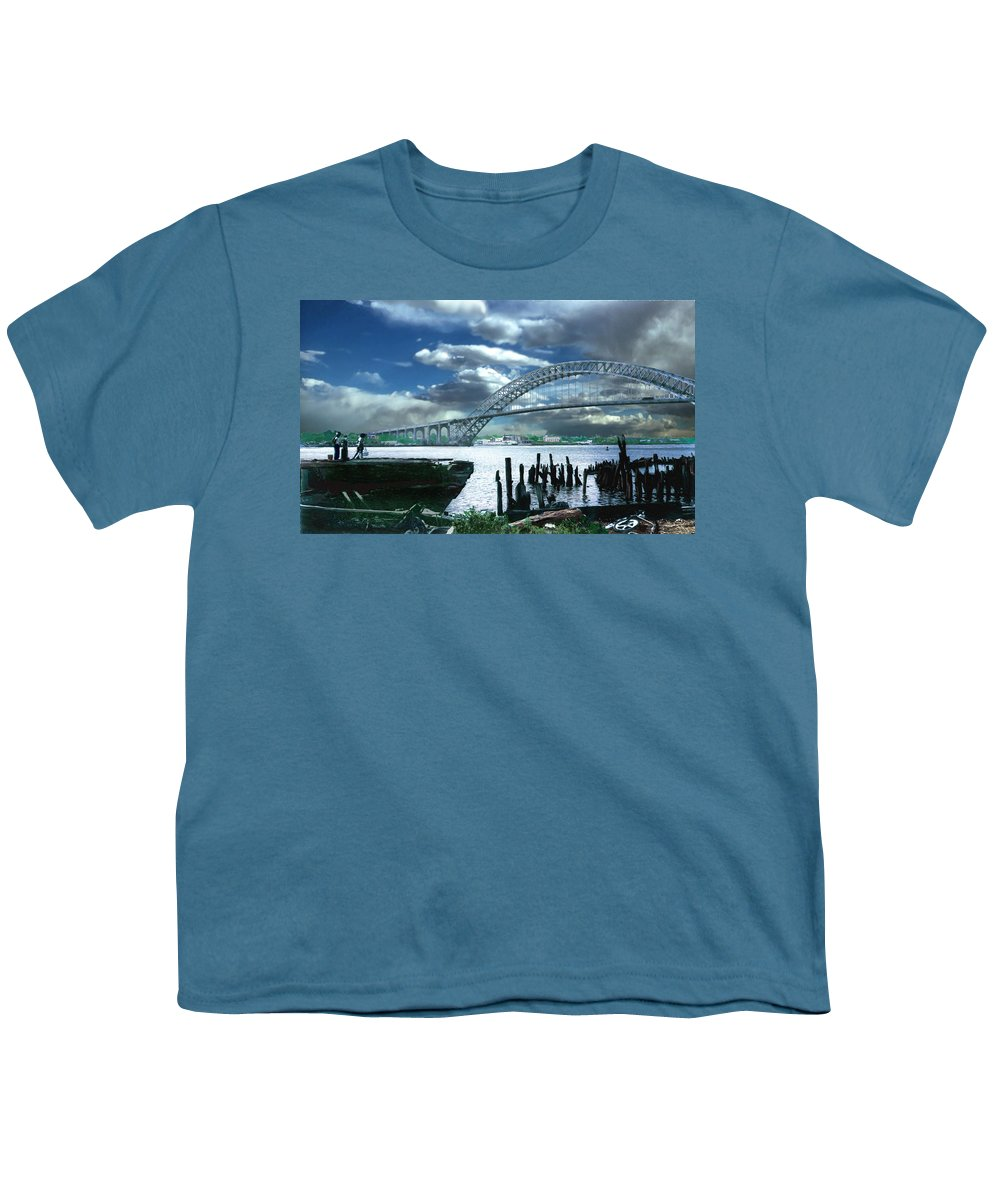 Seascape Youth T-Shirt featuring the photograph Bayonne Bridge by Steve Karol