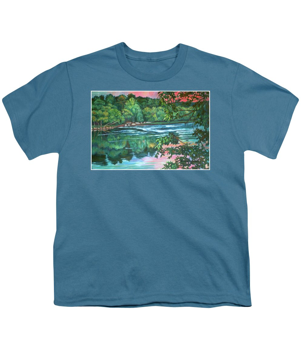 River Youth T-Shirt featuring the painting Bisset Park Rapids by Kendall Kessler