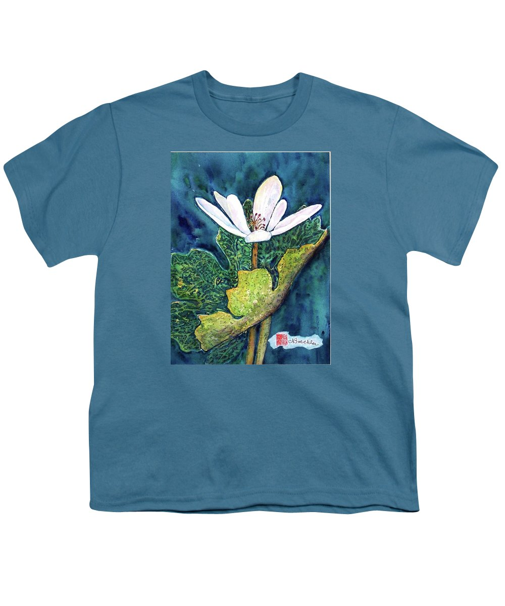 White Flower Youth T-Shirt featuring the painting Blood Root by Norma Boeckler