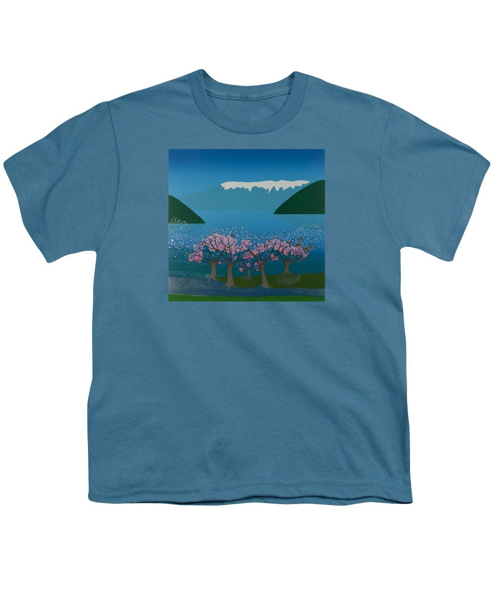 Landscape Youth T-Shirt featuring the mixed media Blossom In The Hardanger Fjord by Jarle Rosseland