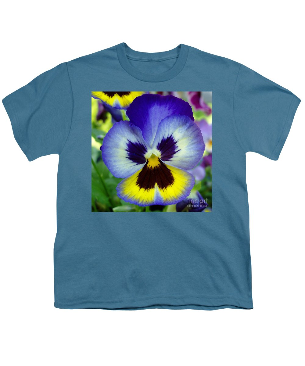 Flowers Youth T-Shirt featuring the photograph Blue And Yellow Pansy by Nancy Mueller